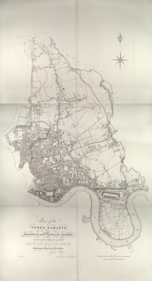 Plan showing the sewers in Tower Hamlets, 1843